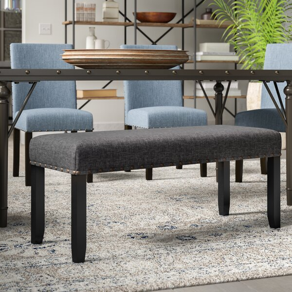 Haysi Upholstered Bench with Nailhead Trim by Grey