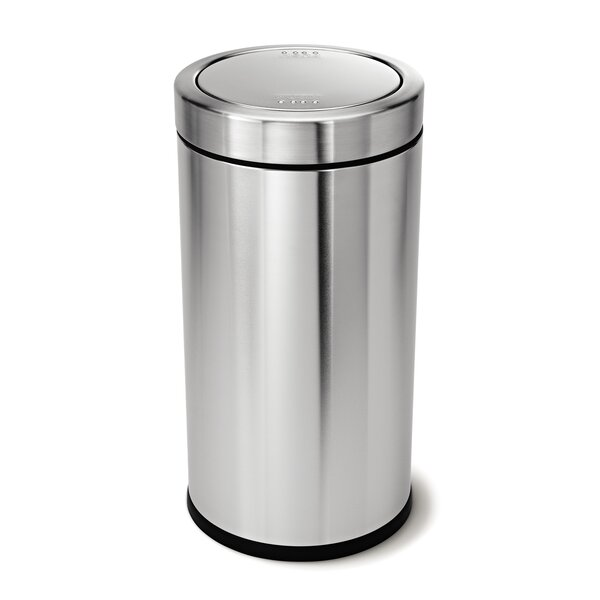 14.5 Gallon Swing Top Trash Can, Brushed Stainless Steel by simplehuman