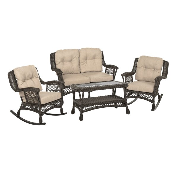 Denby Outdoor Garden 4 Piece Seating Group with Cushions by Highland Dunes
