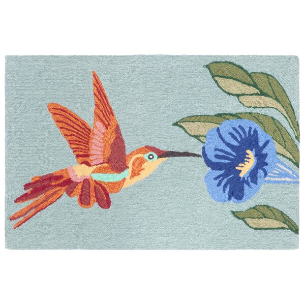 Ismay Hummingbird Blue Indoor/Outdoor Area Rug by August Grove