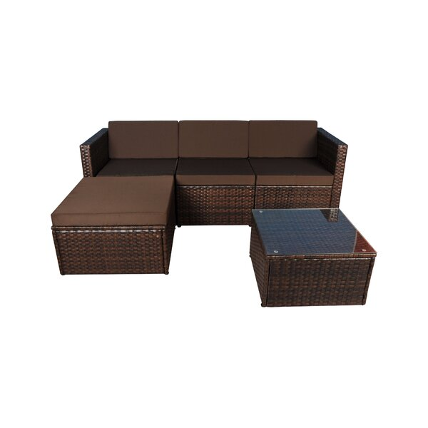 Faught 3 Piece Rattan Sectional Set with Cushions by Wrought Studio
