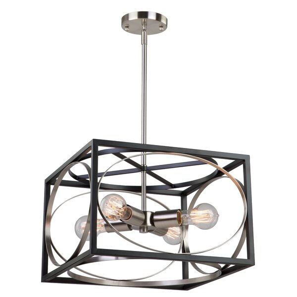 Hambleton 4 - Light Unique / Statement Rectangle / Square Chandelier by Orren Ellis Orren Ellis