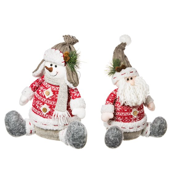 Nordic 2 Piece Christmas Santa and Snowman Table Décor Set by George Oliver