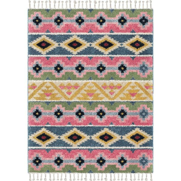 Kemah Stripe Saffron/Pink/Blue Area Rug by Bungalow Rose
