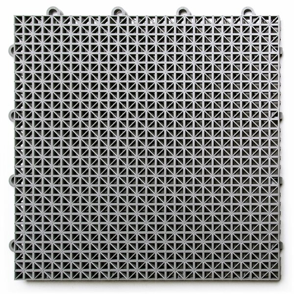 12 x 12 Plastic Interlocking Deck Tile in Gray by