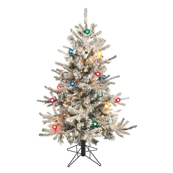 Lit Slim Flocked Vail 54 Green/White Pines Artificial Christmas Tree with 200 Colored and White Lights with Heavy Snow by The Holiday Aisle