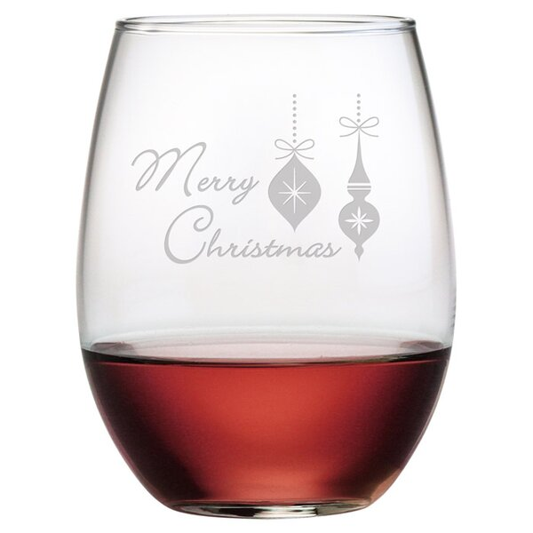 Merry Christmas Ornaments 19 Oz. Stemless Wine Glass (Set of 4) by The Holiday Aisle