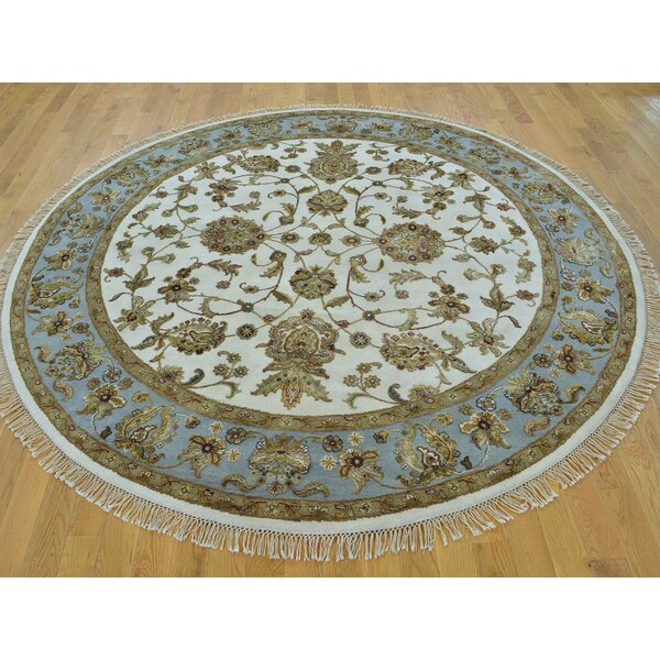 One-of-a-Kind Bear Hand-Knotted Ivory Wool/Silk Area Rug by Isabelline