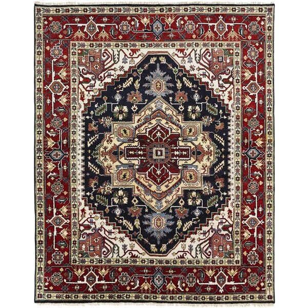 Marseilles Hand Knotted Wool Black/Red Area Rug by Astoria Grand