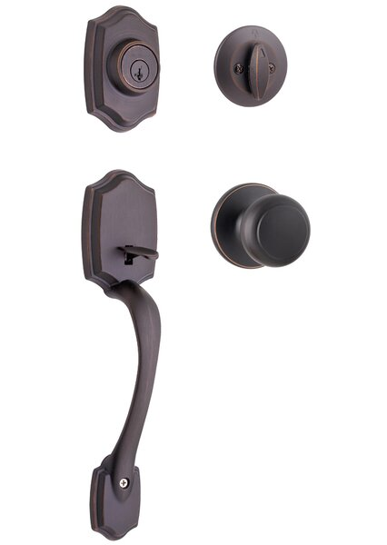 Belleview Single Cylinder Entrance Handleset with Cove Knob featuring SmartKey by Kwikset