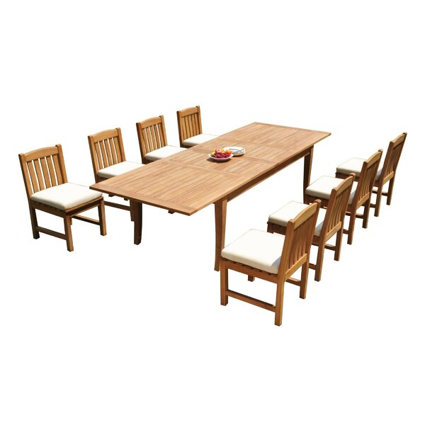 Greely 9 Piece Teak Dining Set by Rosecliff Heights