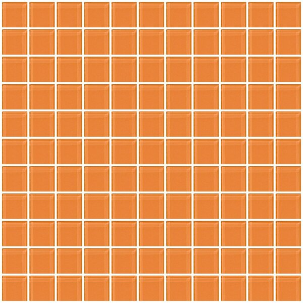 1 x 1 Glass Mosaic Tile in Apricot Orange by Susan Jablon