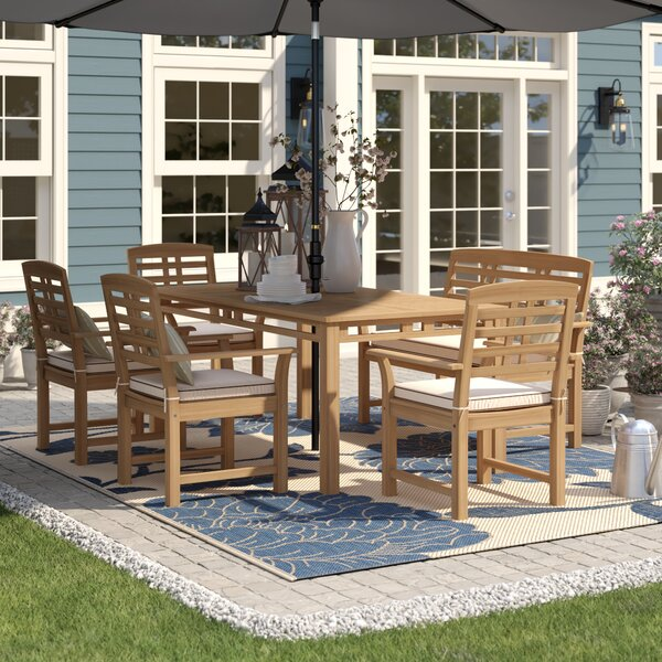 Calila 6 Piece Teak Dining Set with Cushions by Birch Lane™ Heritage