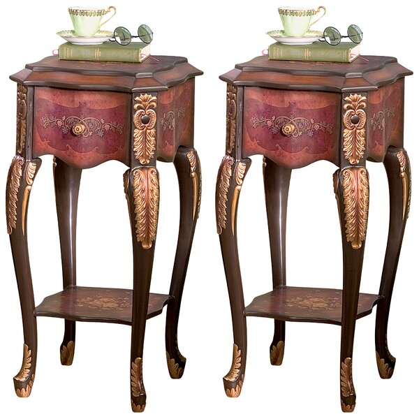 Floral Bouquet Chiffoniere End Table (Set of 2) by Design Toscano