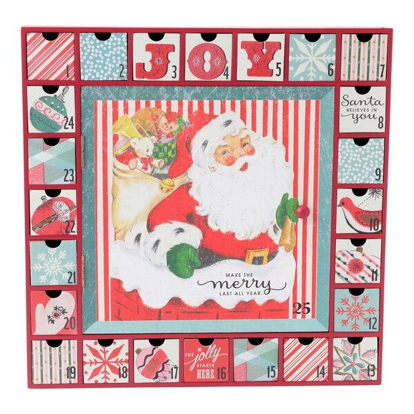 Vintage Inspired Santa Wooden Advent Calendar by Hallmark Home & Gifts