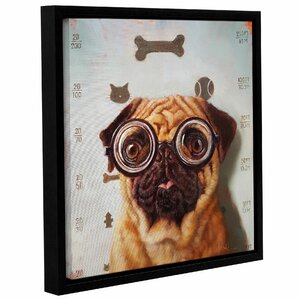 'Canine Eye Exam' Framed Graphic Art Print on Canvas by Wrought Studio