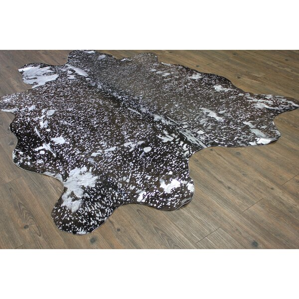 One-of-a-Kind Parikh Luxurious Hand-Woven Cowhide Silver/Black Area Rug by Union Rustic