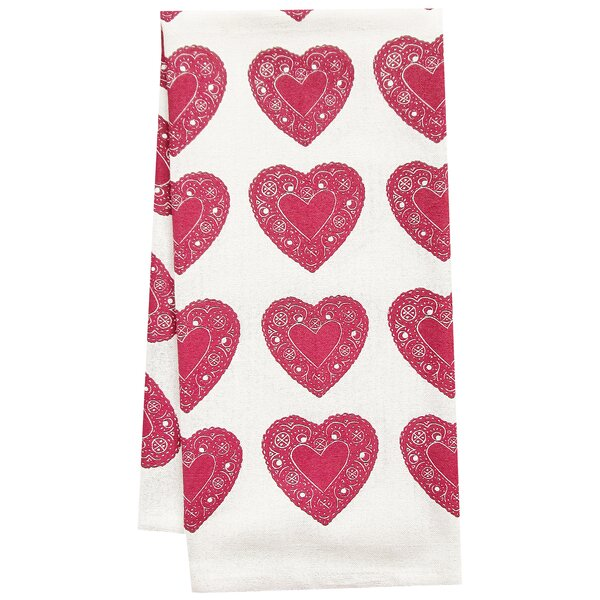 Organic Heart All Over Pattern Block Print Tea Towel by Artgoodies