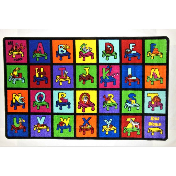 My ABC Place Blue/Green/Yellow Area Rug by Kids World Carpets