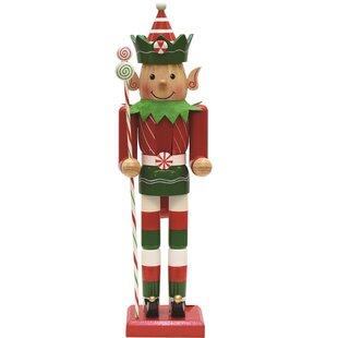 peppermint twist wooden christmas elf nutcracker