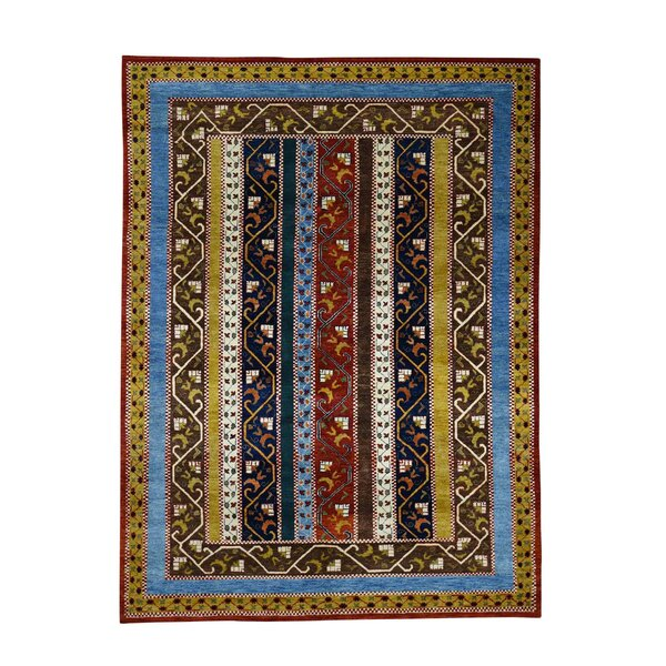 One-of-a-Kind Pietsch Shawl Oriental Hand-Knotted Blue/Red Area Rug by World Menagerie