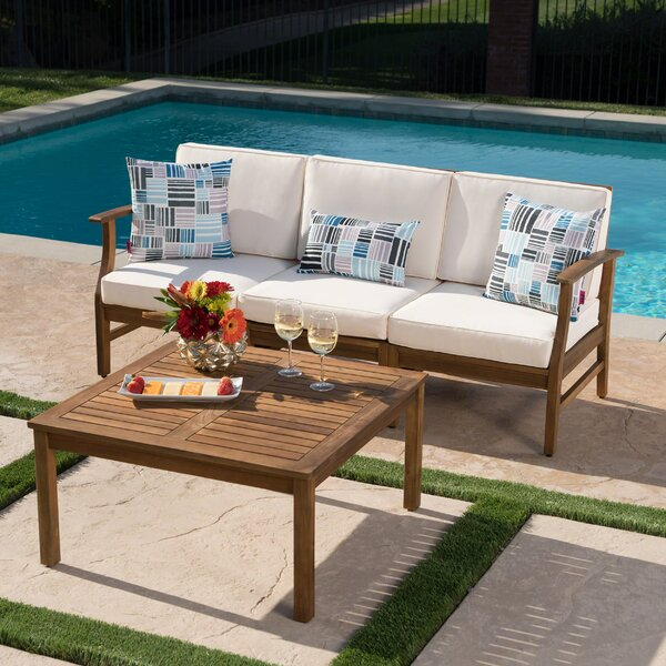 Fassett Outdoor 2 Piece Sofa Set with Cushions by Wrought Studio