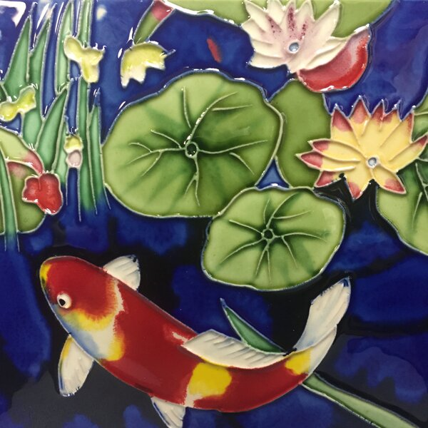 Koi Fish With Blue Background by Continental Art Center