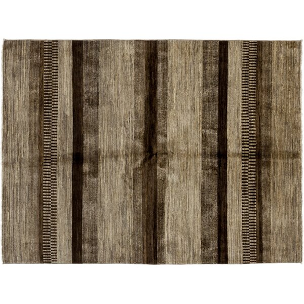One-of-a-Kind Gabbeh Hand-Knotted Brown Area Rug by Darya Rugs