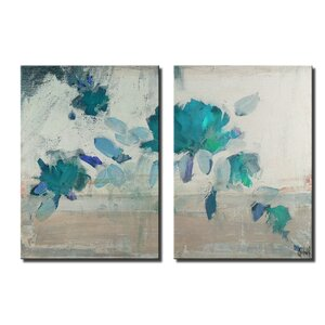 'Painted Petals IVB' by Ready2HangArt™ 2 Piece Graphic Art on Canvas Set by Ready2hangart