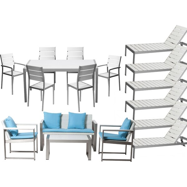 Kiera 17 Piece Rattan Complete Patio Set with Cushion by Modern Rustic Interiors