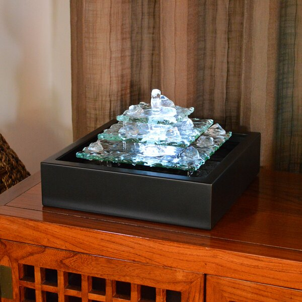 Water Wonders Glass Glacier Bay Tabletop Fountain with LED Light by Bluworld