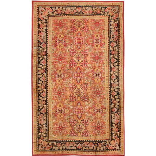 One-of-a-Kind English Hand-Knotted 1900s Saffron 15'9 x 27'4 Wool Area Rug