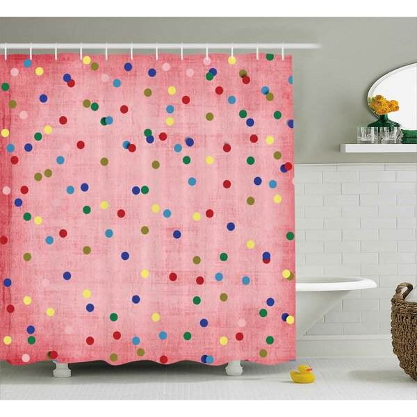 Valerie Retro Classic Spots Design With Circles Geometric Decor Pink Background Image Shower Curtain by Harriet Bee