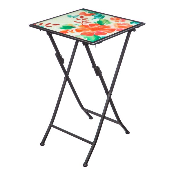 Barns Watercolor Floral Folding Steel Bistro Table by Winston Porter