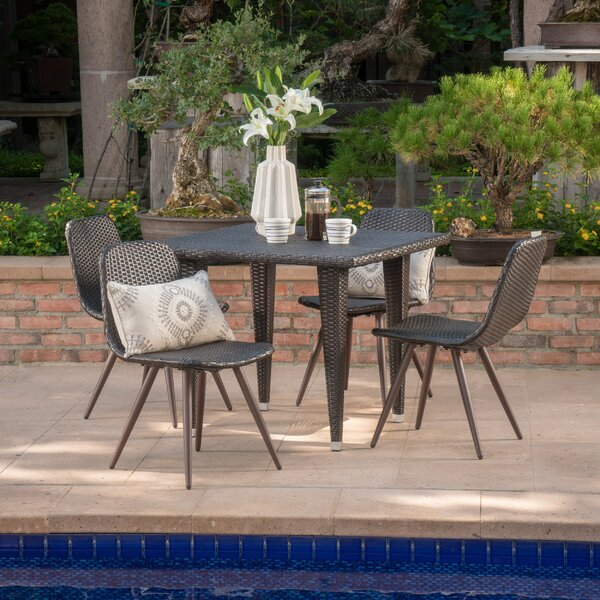 Biquele Outdoor Wicker 5 Piece Dining Set by Ivy Bronx