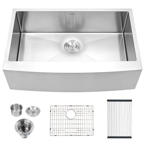 Stainless Steel 36 L x 21 W Farmhouse Kitchen Sink with Basket Strainer