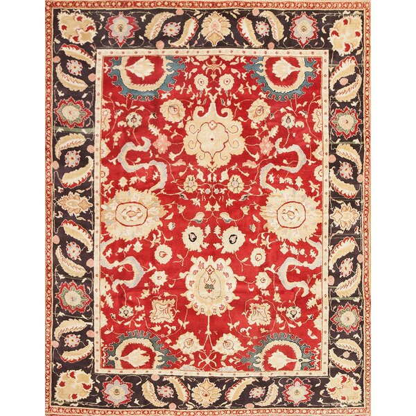 One-of-a-Kind Agra Hand-Knotted 1950s Red 7'9 x 10' Wool Area Rug