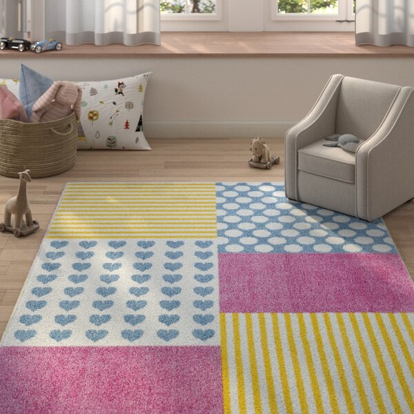 Carlwirtz Patchwork Pink/Yellow/Blue Area Rug by Harriet Bee