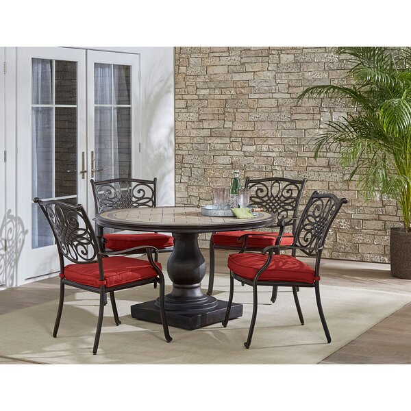 Copper 5 Piece Dining Set with Cushions by Fleur De Lis Living
