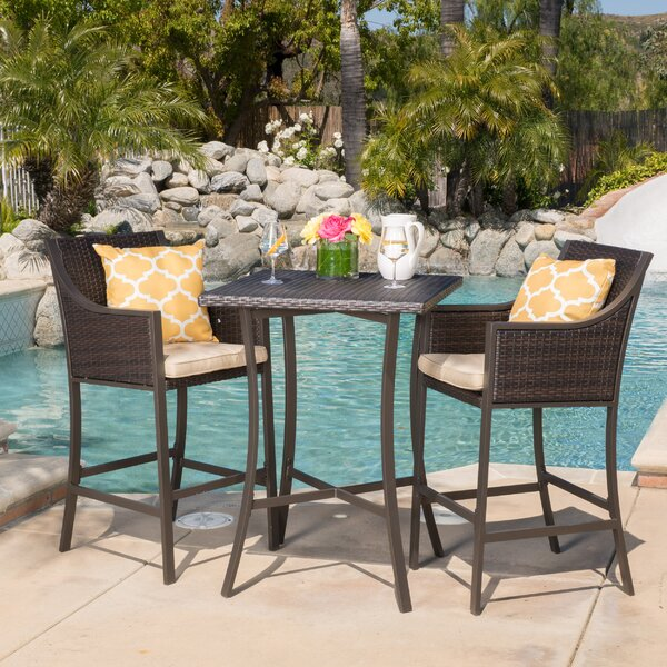 Alexa 3 Piece Bar Height Dining Set with Cushion by Mercury Row