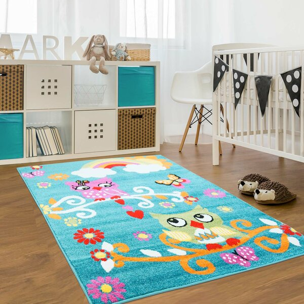 Jodie Kids Owl Turquoise Area Rug by Zoomie Kids