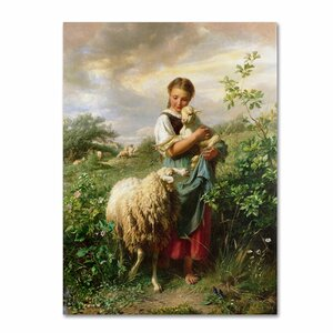 'The Shepherdess 1866' by Johann Hofner Painting Print on Wrapped Canvas by Trademark Fine Art