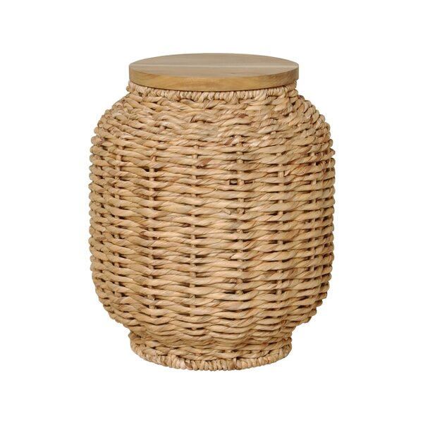 Water Hyacinth Wood Lantern Stool by Emissary Home and Garden
