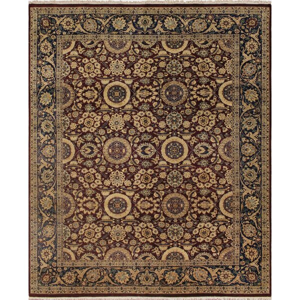 Clearman Hand Knotted Wool Red/Blue Area Rug by Astoria Grand