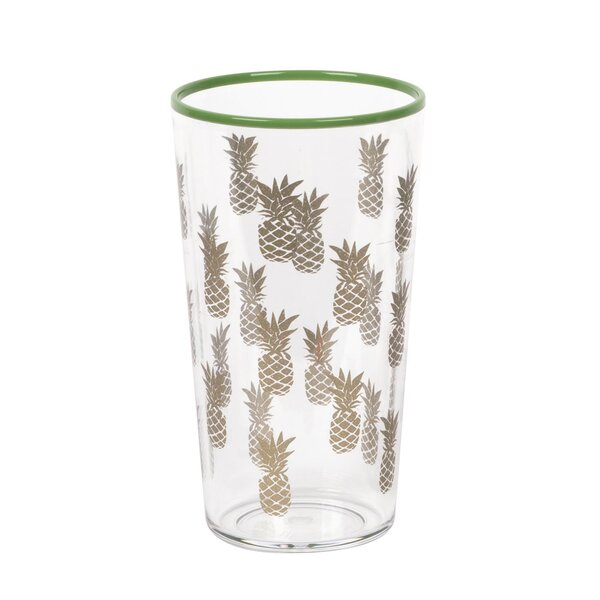 Pinyon Gold Accents Pineapple Jumbo 21 oz. Acrylic Every Day Glass by Bay Isle Home