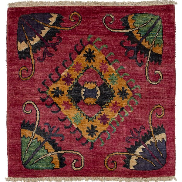 One-of-a-Kind Javi Hand-Knotted Wool Dark Magenta Area Rug by Isabelline