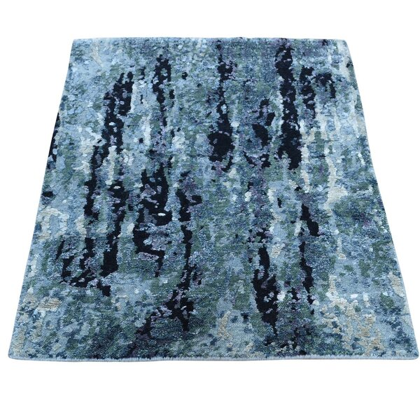 One-of-a-Kind Abstract Hand-Knotted Black/Blue Area Rug by Williston Forge