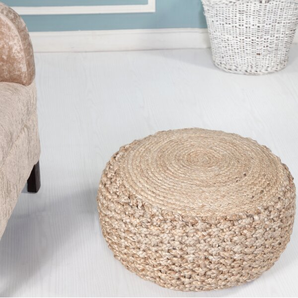 Aarron Braided Jute Pouf by Highland Dunes