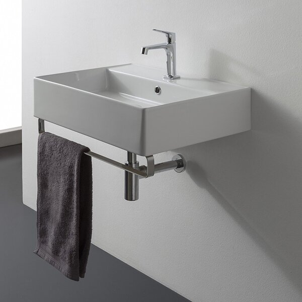 Teorema Ceramic 19 Wall Mount Bathroom Sink with Overflow by Scarabeo by Nameeks