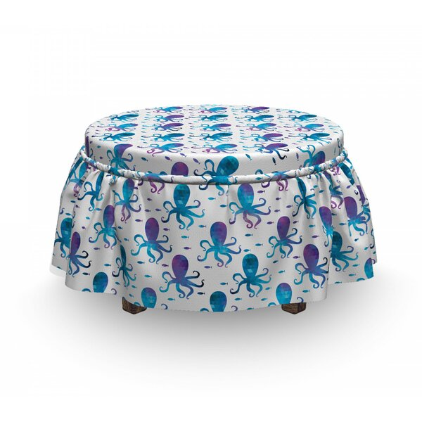 Octopus Polygonal Animal Design 2 Piece Box Cushion Ottoman Slipcover Set By East Urban Home